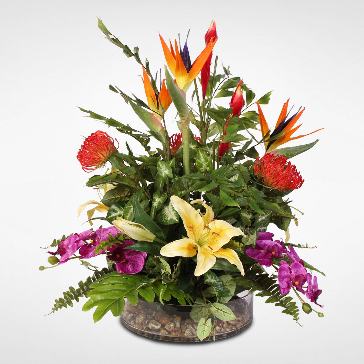 Bloomsbury Market Exotic Tropical Silk Mixed Floral Arrangement In