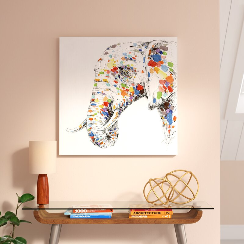 562627f314f5 East Urban Home  Color Elephant  Oil Panting Print on Canvas   Reviews