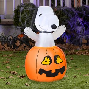 airblown snoopy in pumpkin with woodstock inflatable - Inflatable Halloween Yard Decorations