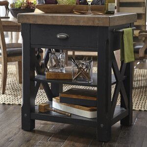 Dontae Accents Kitchen Island with Butcher Block Top