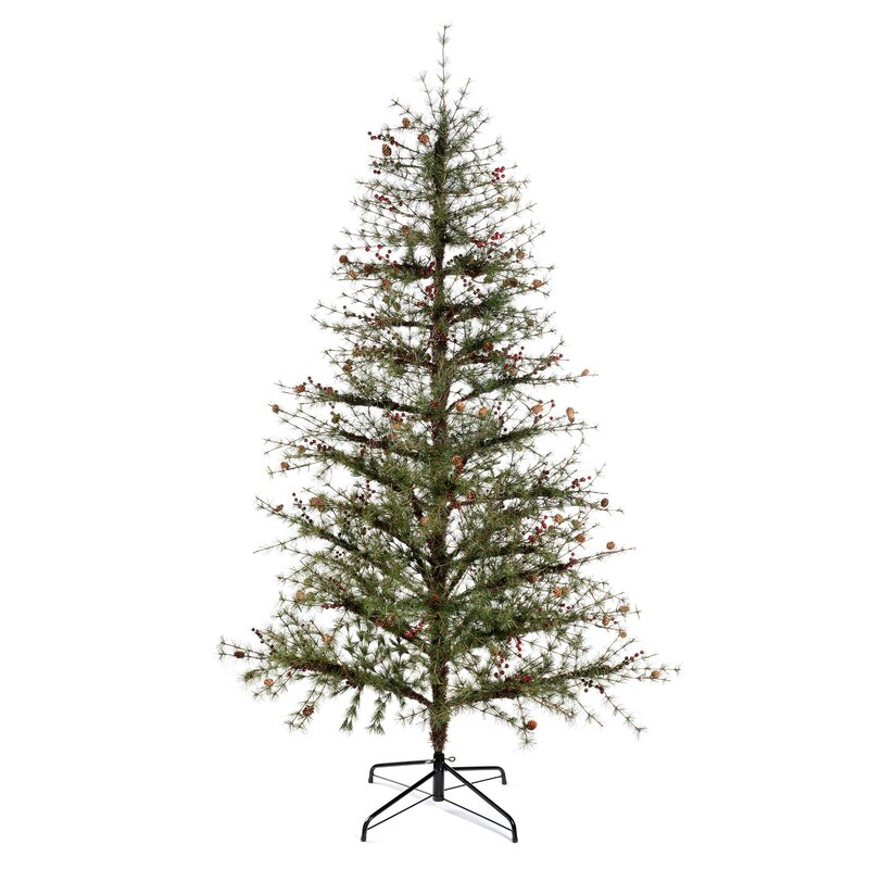 Christmas Tree With Pine Cones And Berries: The Seasonal Aisle 7ft Contemporary Pine Artificial