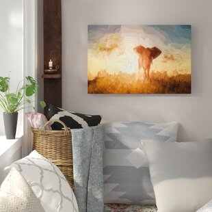 Large African Elephant In The Desert Painting Print On Canvas