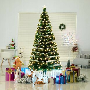 7' Green Fir Artificial Christmas Tree with 280 Multi-Colored Lights