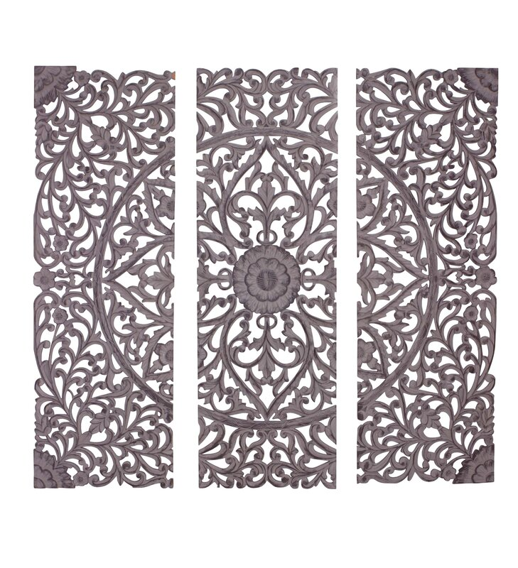 Wall Decor Set woodland imports 3 piece the must have wood carved panel wall
