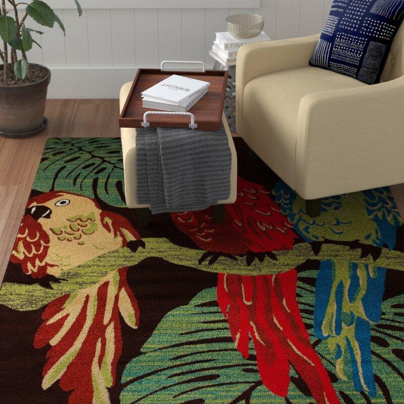 Vasser Parrots Brown/Green Indoor/Outdoor Area Rug