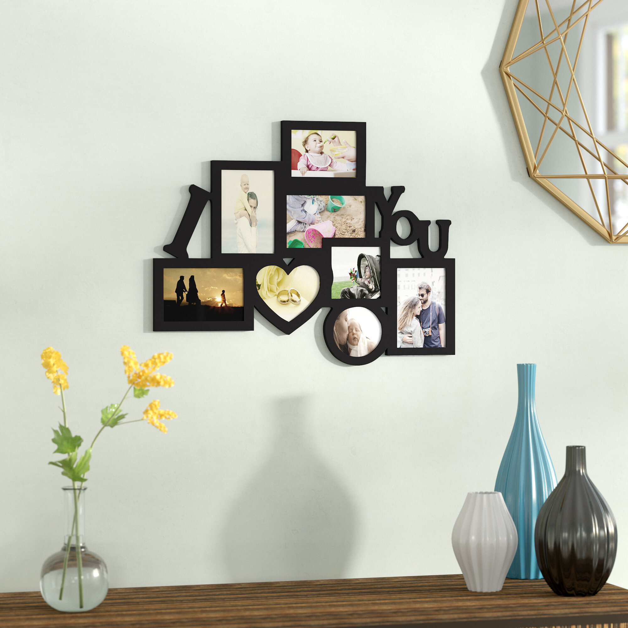 Zipcode Design 8 Opening Wooden Photo Collage Wall Hanging Picture ...