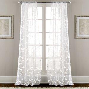 Lindsey Embroidered Nature/Floral Semi-Sheer Rod Pocket Curtain Panels (Set of 2)