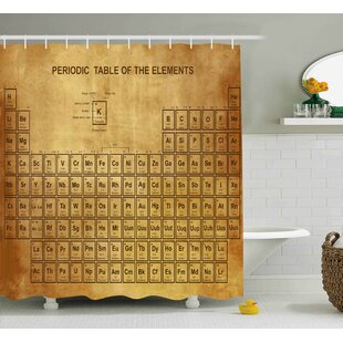 Periodic table shower curtain wayfair bahari science elements chemistry table vintage old design for scientists student print shower curtain urtaz Image collections