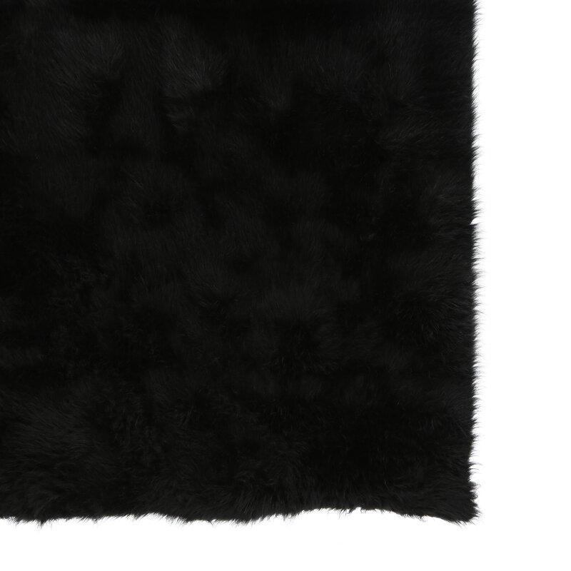 Threadbind Samantha Hand Tufted Faux Sheepskin Black Area