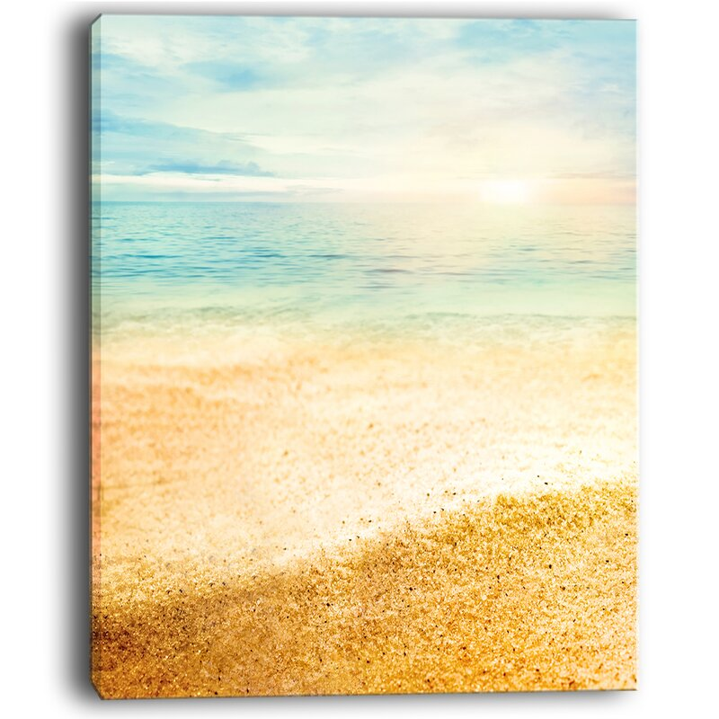 DesignArt Summer Beach View with Fine Gold Sand Wall Art on Wrapped ...