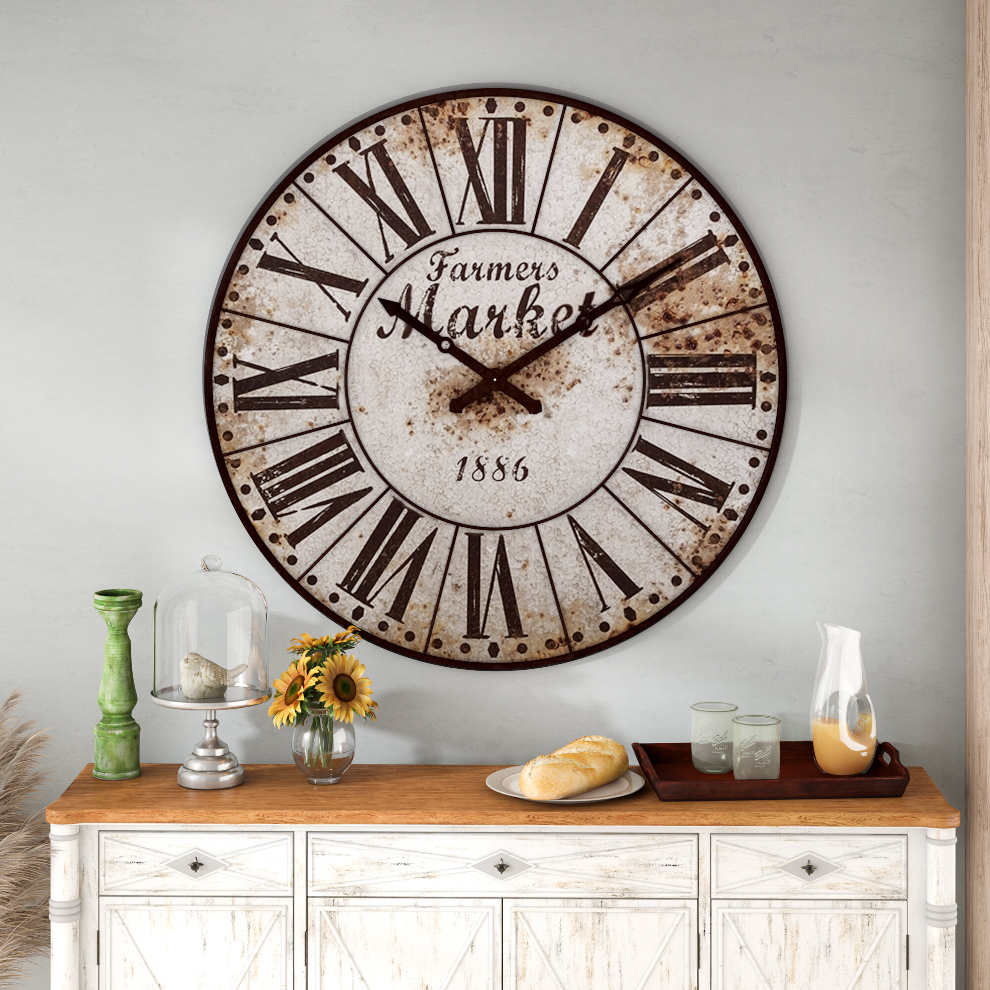 August Grove Midcre 47 Farmers Market Oversized Wall Clock
