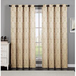 Burns Ikat Semi-Sheer Grommet Single Curtain Panel