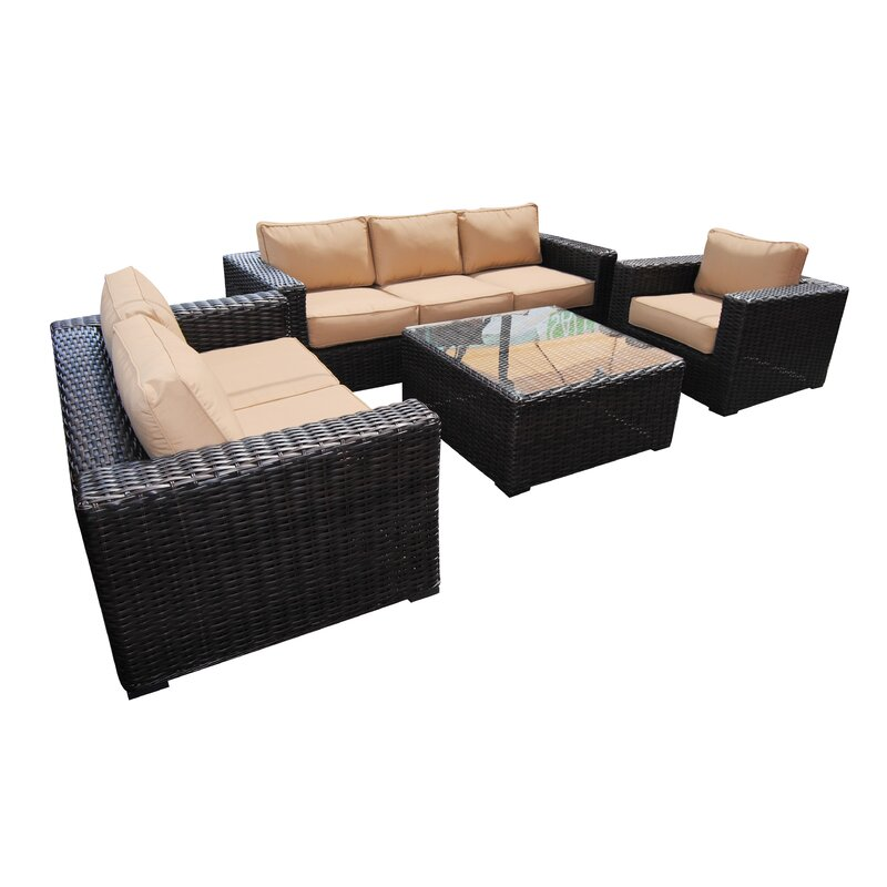 Santa Monica 4 Piece Sunbrella Sofa Set With Cushions