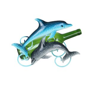 Happy Duo of Dolphins Metal 1 Bottle Tabletop Wine Rack