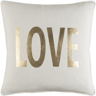 Carnell Love Metallic Gold Cotton Throw Pillow
