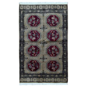 One-of-a-Kind Sariya Royal Bukhara Hand-Knotted Silk, Wool Tan Area Rug