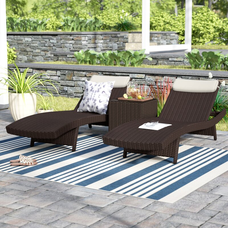High Quality Grote Patio 3 Piece Single Chaise Lounge Set