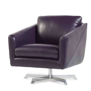 Hieu Top Grain Contemporary Swivel Leather A..