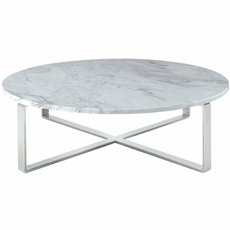 White Marble Coffee Table Set: Orren Ellis Orian Marble Coffee Table & Reviews