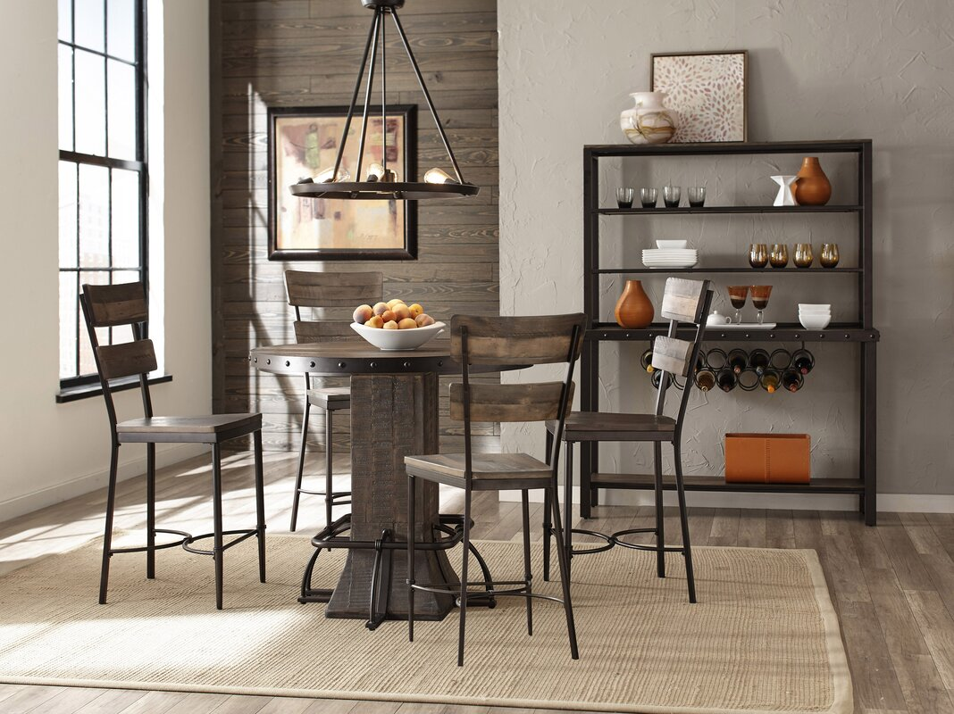 Cathie 5 Piece Round Wood Counter Height Dining Set