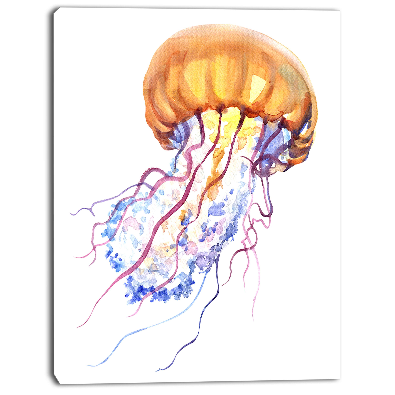 DesignArt \'Orange Ocean Water Jellyfish\' Painting Print on Wrapped ...