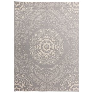 Eason Transitional Medallion Design Floral Gray Area Rug