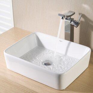 Knaack Ceramic Rectangular Vessel Bathroom Sink