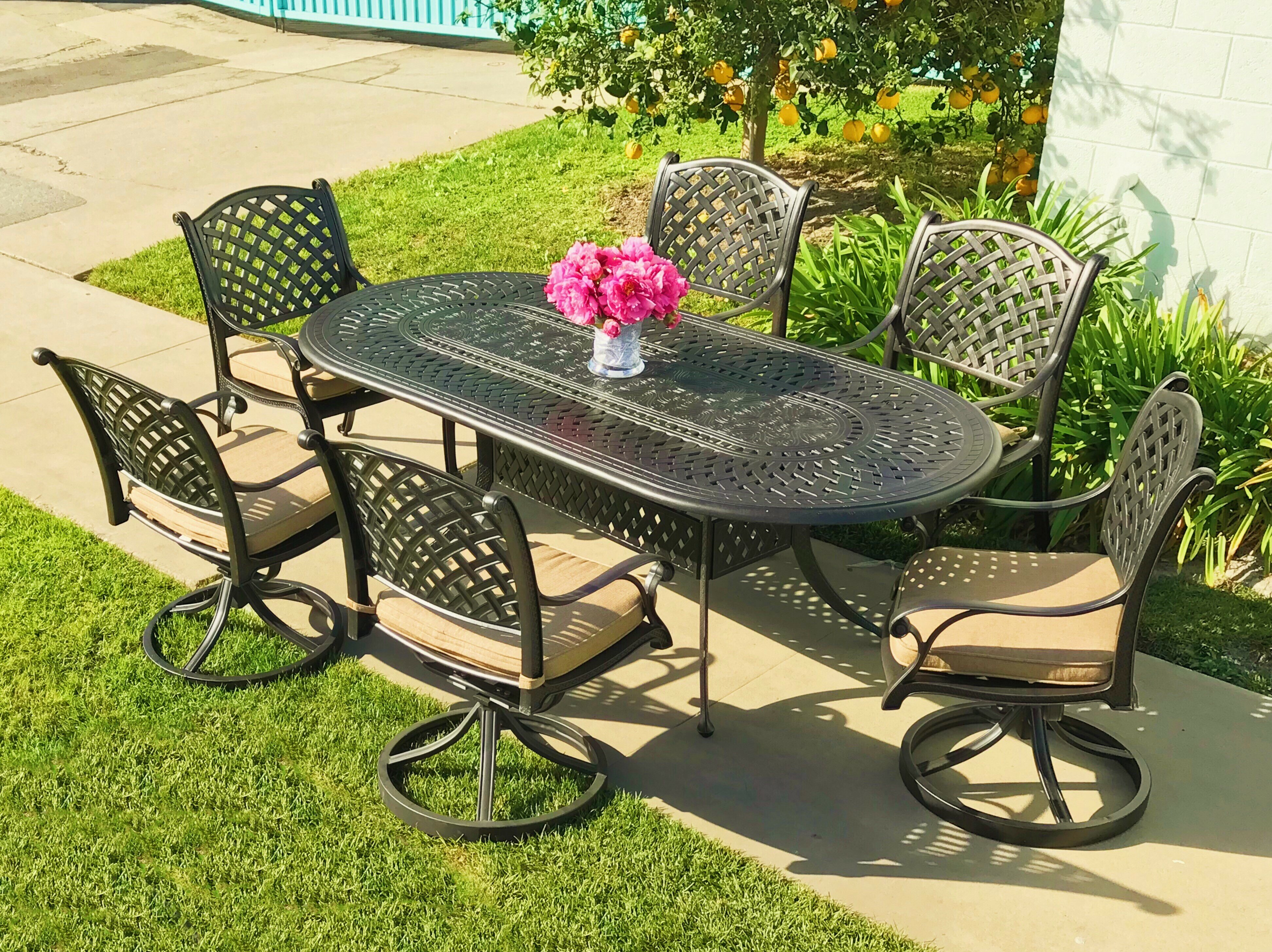 Darby Home Co Beadle Oval Cast Aluminum 7 Piece Dining Set With Cushions Reviews Wayfair