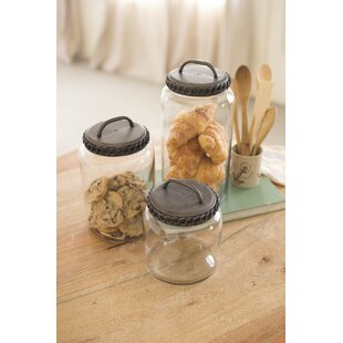 3 Piece Glass Kitchen Canister Set