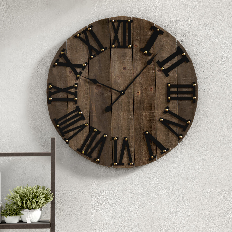 17 stories merilyn oversized rustic wooden 31 5 wall clock reviews wayfair