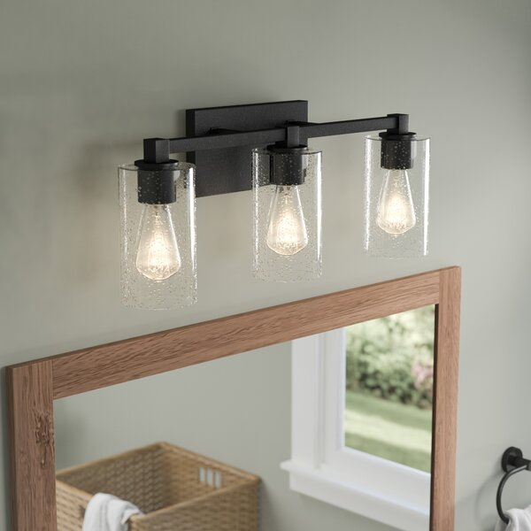 Mcdowell 3-Light Vanity Light With Clear Seeded Glass & Reviews