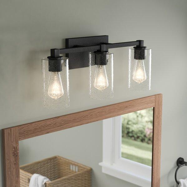 Mcdowell 3 light vanity light with clear seeded glass - Black bathroom lighting fixtures ...
