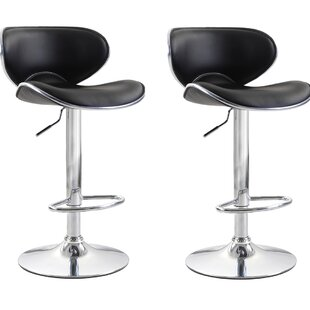 Shults Adjustable Height Swivel Bar Stool (Set of 2)