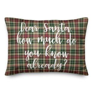 Joni Dear Santa In Tartan Plaid Lumbar Pillow