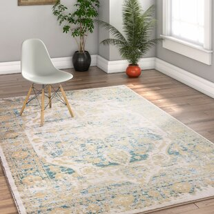 Kensington Maxwell Modern Vintage Distressed Medallion Blue/Beige Rug by Longweave