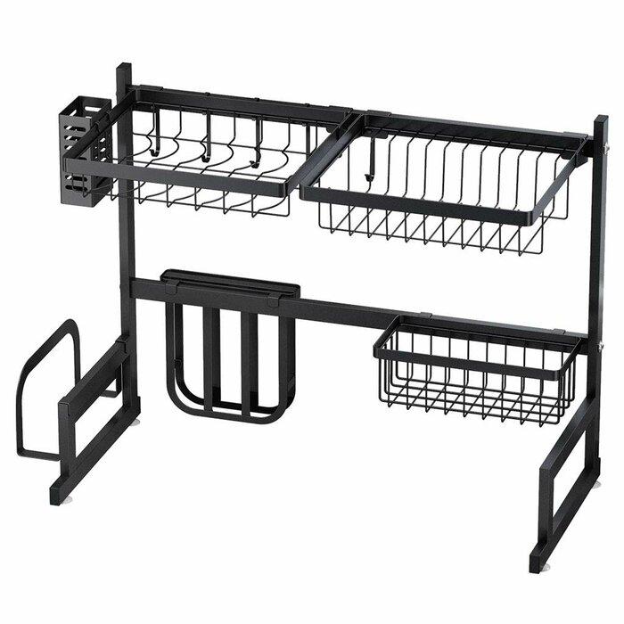 Drying Over Sink Stainless Steel Shelf 2-Tier Utensils Holder Display Stand  Dish Rack