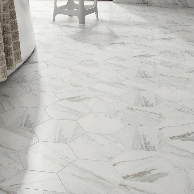 Marbre Carrara 8 63 X 9 88 Porcelain Mosaic Tile