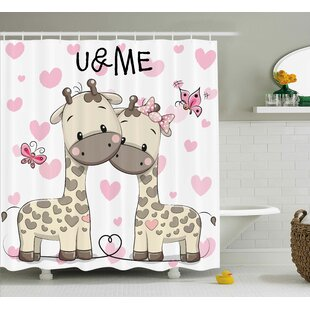 jamie kids cute giraffes baby shower curtain - Cute Shower Curtains