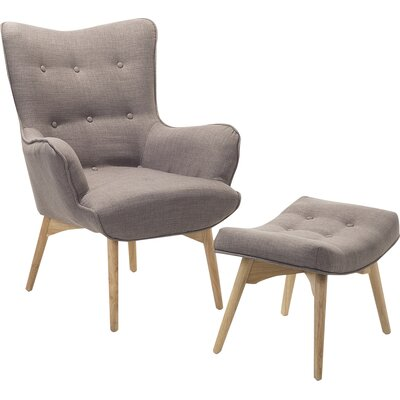 Ledo Armchair and Ottoman Corrigan Studio Upholstery: Light Gray
