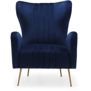 Simple Blue Velvet Accent Chair Concept