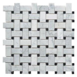 Basketweave Tile Youll Love Wayfair - Carrara basketweave tile gray dot