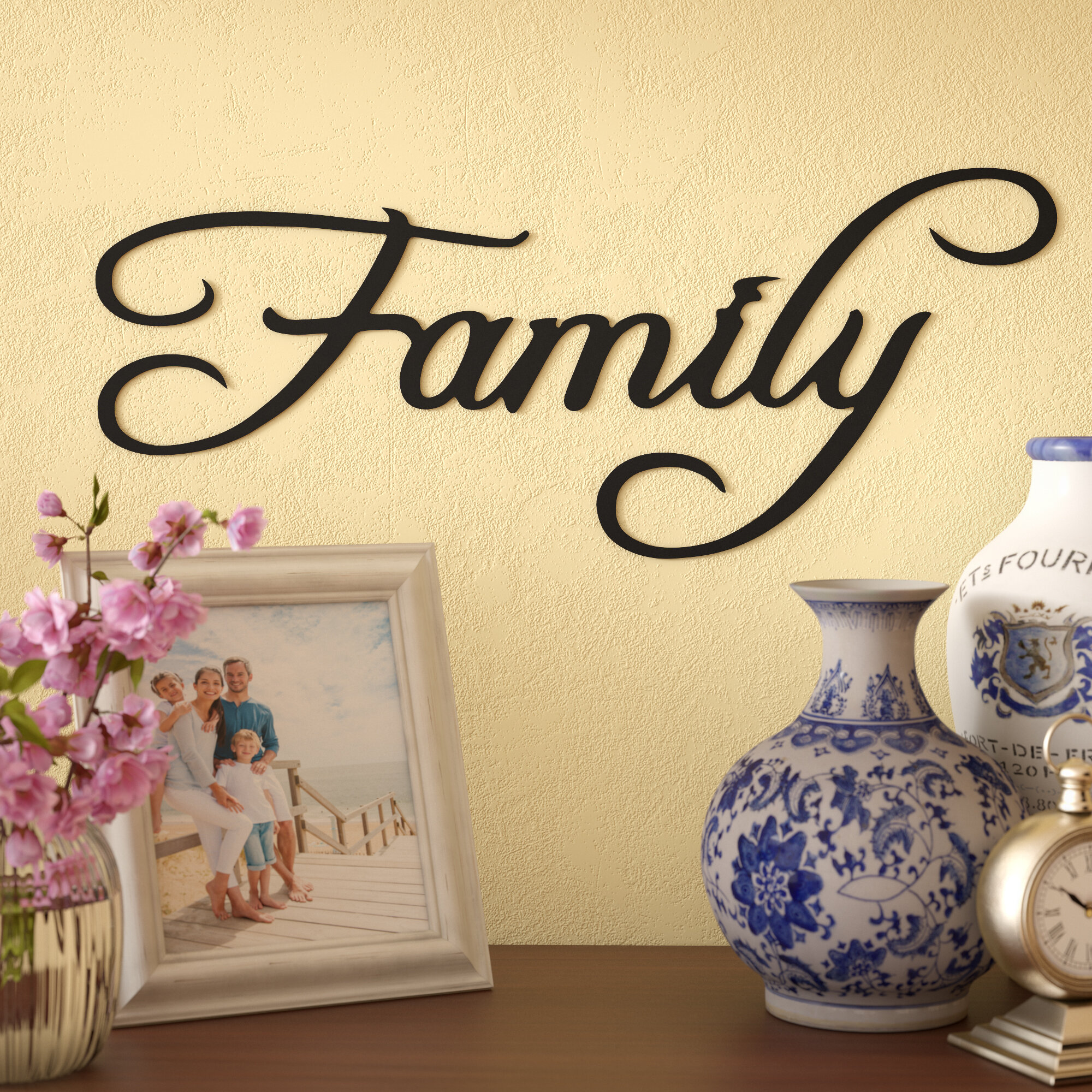 Red Barrel Studio Family Word Sign Metal Wall Décor & Reviews | Wayfair