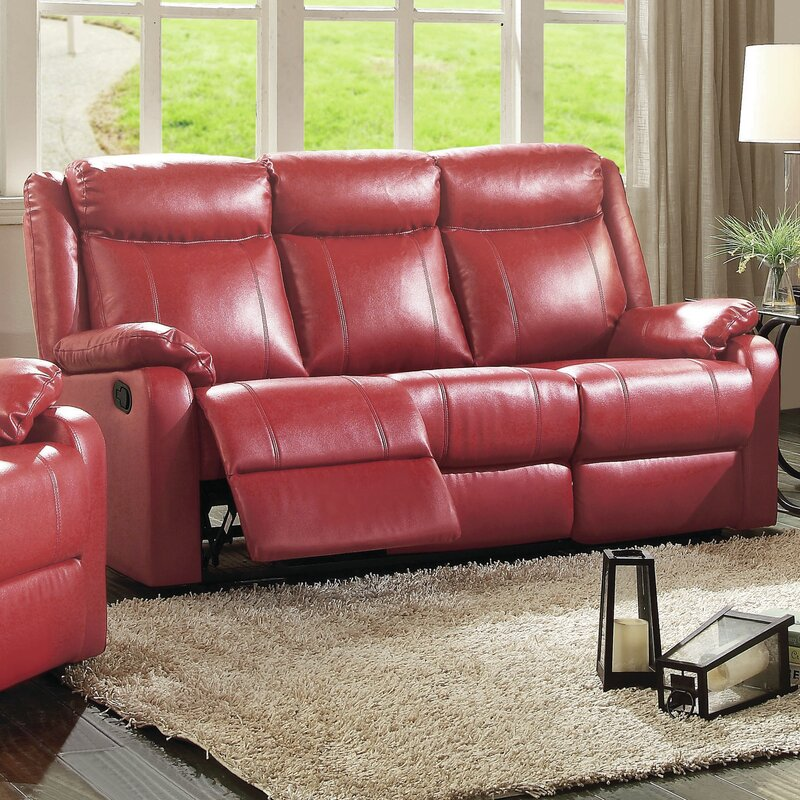 roudebush double leather reclining sofa