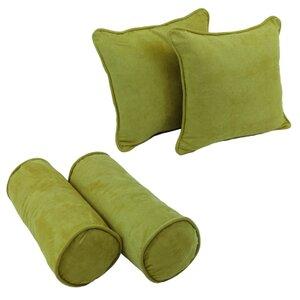 4 Piece Microsuede Throw/Bolster Pillow Set