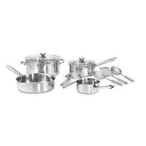 Cook and Strain 3-Ply Stainless Steel 10 Piece Cookware Set