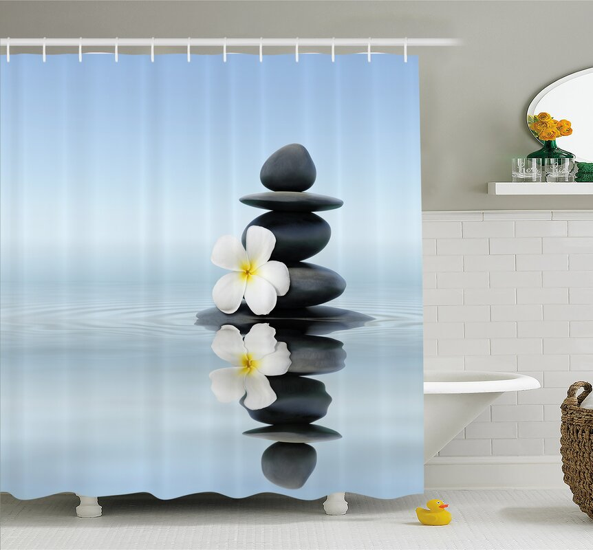 Spa Zen Massage Hot Stones With Asian Frangipani Plumera Reflection On  Water Shower Curtain Set