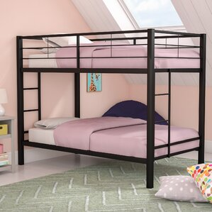 Kline Classic Twin Bunk Bed with Dual Ladder by Harriet Bee