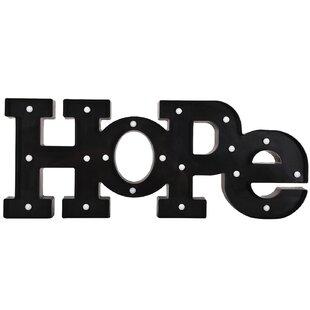 led hope letter wall decor