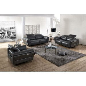 Paille 3 Piece Leather Living Room Set by Orren Ellis