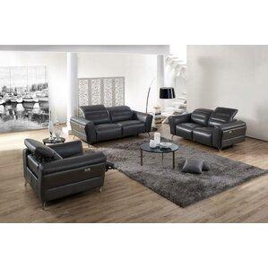 Paille 3 Piece Leather Living Room Set by Orren Ellis